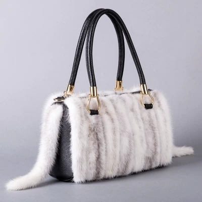 NEW Fall Winter hot sale real Mink hair genuine leather women shoulder bag tote warm handbags