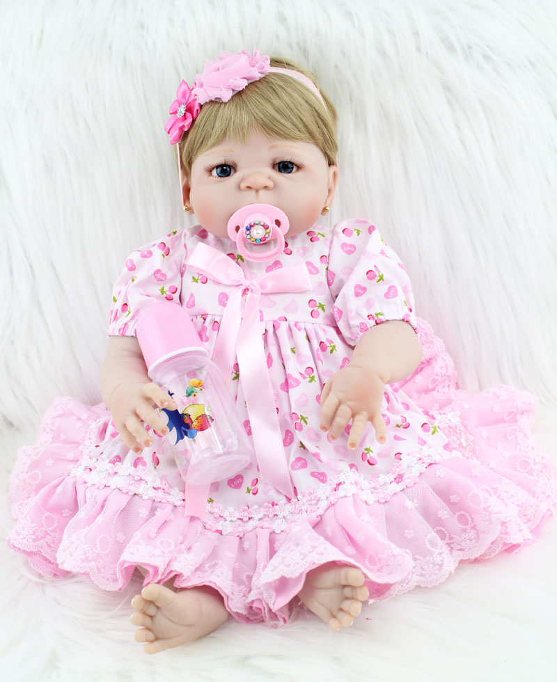 55cm Full Body Silicone Reborn Baby Doll Toys Realistic 22inch Newborn Princess Toddler Girls Babies Doll Child Bathe Toy 55cm full silicone body reborn baby doll toys like real 22inch newborn boy babies toddler dolls birthday present girls bathe toy