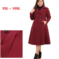 10XL Extra large size Autumn Winter Woolen Jacket Women Slim Long Wool Coat Young Women High quality Double breasted Overcoat