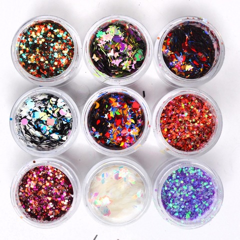8 Boxes Mix Shape Colorful Holographic Nail Glitter Sequins 3D Glass Nail Art Foils Flakes Aurora Colorful Manicure Decoration Pakistan