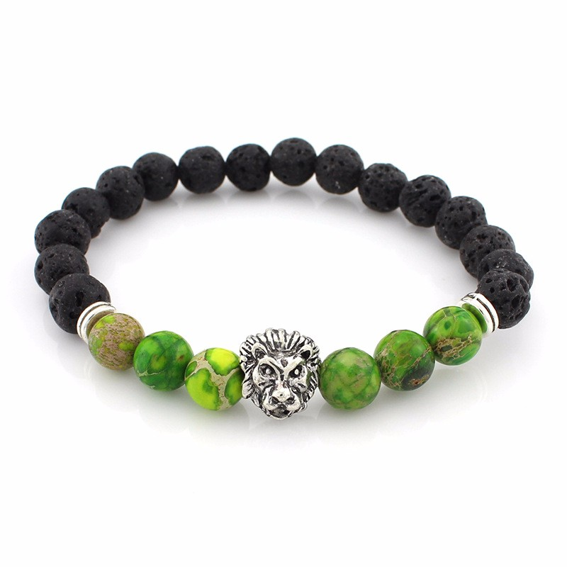 black-lava-stone-bracelets-with-silver-lion-with-green-colored-natural-stones