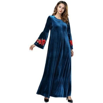 187413 Long Embroidered Gold Velvet Kaftans Pleuche Fold Sleeve Moroccan Dresses Modest Dress Kaftan Robe Muslim Party Vestidos