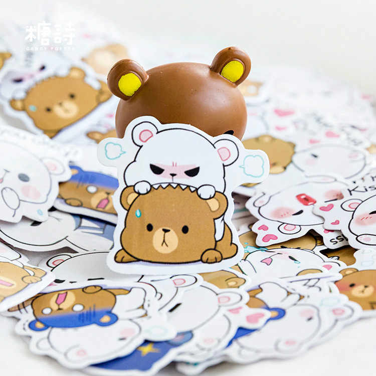Lote de 45 unidades de bloc de notas nuevas de LOLEDE, pegatina de decoración de osos Kawaii Wapiti para regalo, pegatina de Scrapbooking, suministros de papelería para escuela