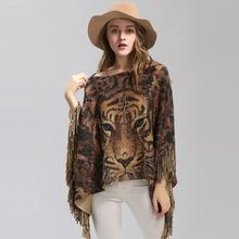 新しい女性暖かいスカーフタイガーヘッドプリント銀線ショールラップカシミヤ感触ポンチョマント女性の秋冬暖かいケープコート