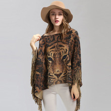 New Female Warm Scarf Tiger Head Print Silver Wire Shawl Wrap Cashmere Feel Poncho Cloak Womens Autumn Winter Warm Capes Coat