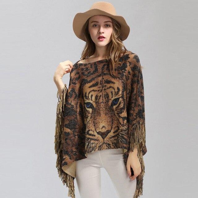 New Female Warm Scarf Tiger Head Print Silver Wire Shawl Wrap Cashmere Feel Poncho Cloak Womens Autumn Winter Warm Capes Coat