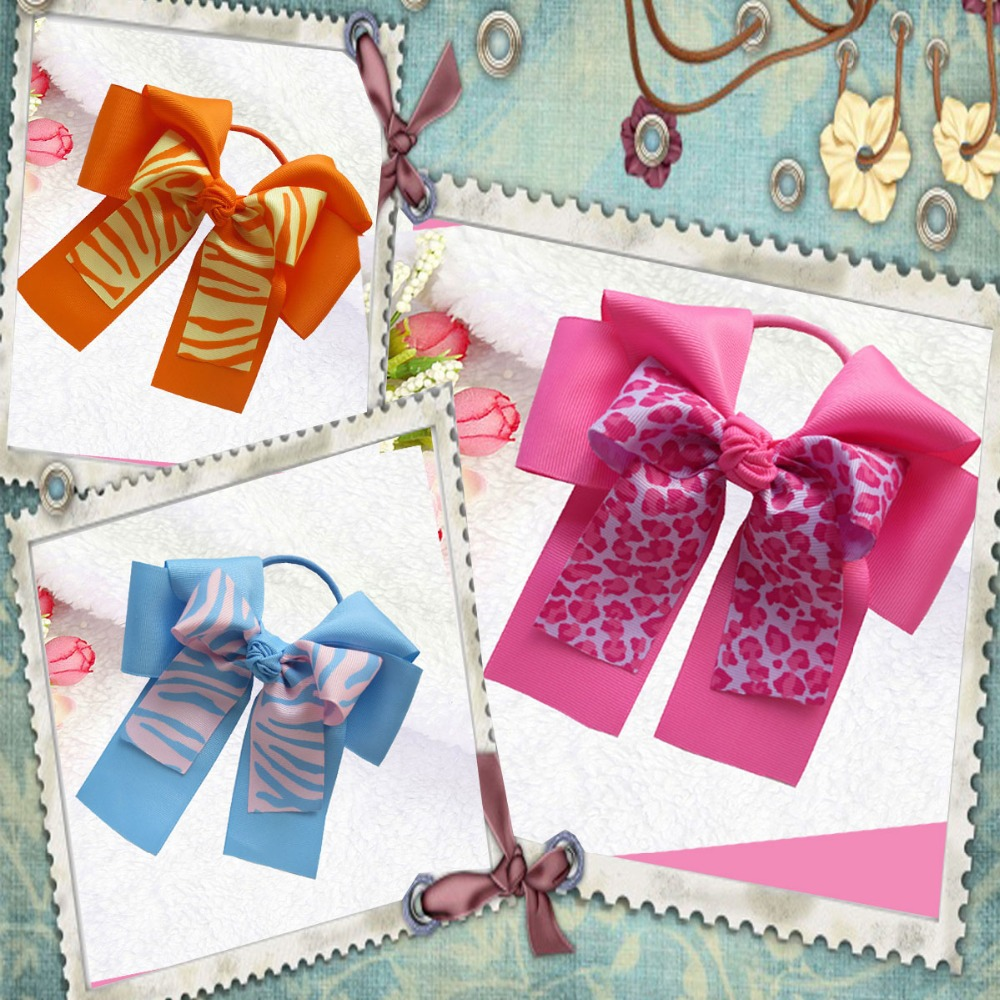 10pcs Free Shipping BLESSING Happy Girl Hair Accessories 6B- Double Cheer Leader Bows Elastics