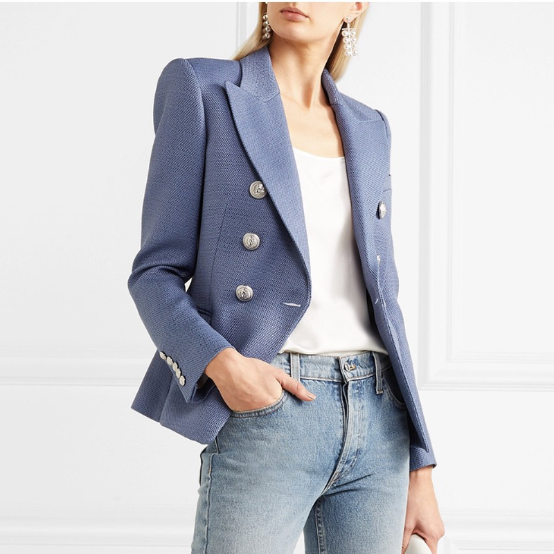 HIGH STREET New Fashion 2019 Stylish Blazer Jacket Women's Silver Lion Buttons Double Breasted Blazer Outer Wear