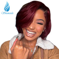 SHUMEIDA 150 Density Human Hair Full Lace Wigs 1bT99J Red Ombre Human Hair Bob Wigs Brazilian