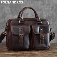2019 Brand Genuine Leather Briefcases Male 14''Laptop Computer Document Shoulder Bag Designer Handmade Vintage Classic Briefcase