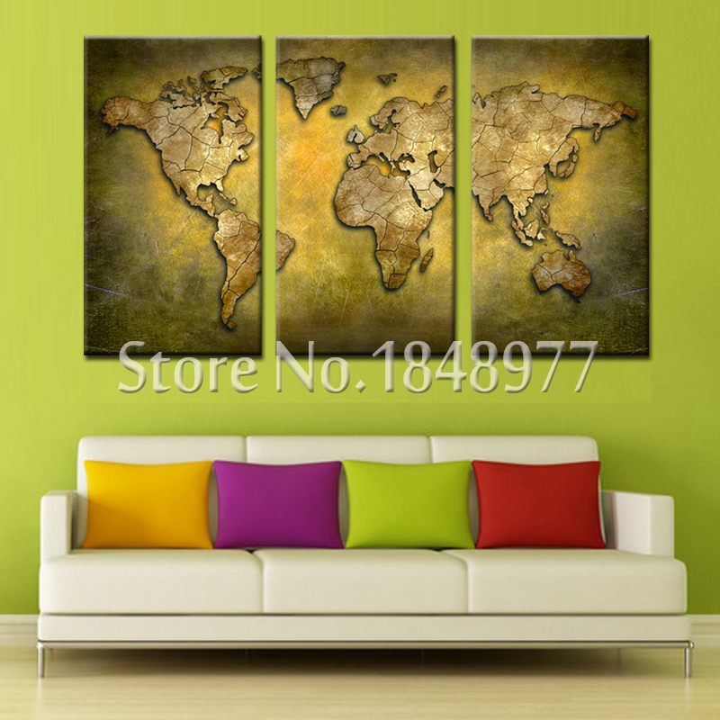 3 panel abstract wall art cheap modern world map oil painting on ...