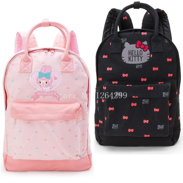 New Fashion Hello Kitty My Melody Girls Students Canvas School Bags Kids Backpack  Bag For Children 912a8d4505d66