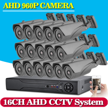 NINIVISION 16CH CCTV System 1080P AHD CCTV DVR System HD 16PCS CCTV Cameras 960P 1.3 Megapixels Enhanced IR Security Camera