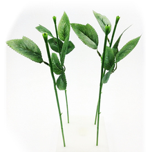 Artificial Flower Stalk Stem with Leaves Accessories Wedding Decoration Branch Crafts DIY Green