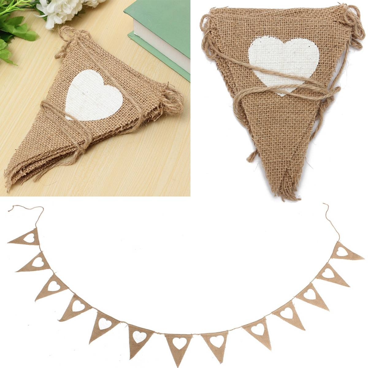 Vintage White Heart Hessian Burlap Flags Bunting Banner Event Supplies Wedding Church Birthday Party Decoration 2.8M 13Flags