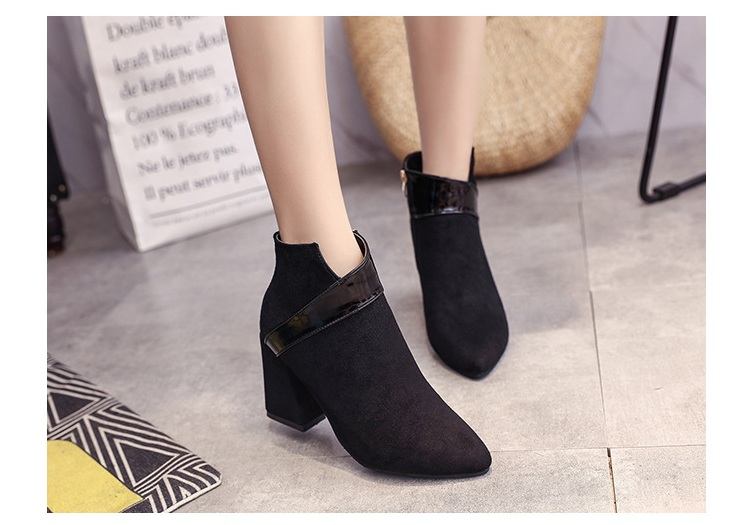 High heels shoes women autumn winter sexy pointed toe ankle boots ladies retro chunky heels short boots botas mujer beige black 54