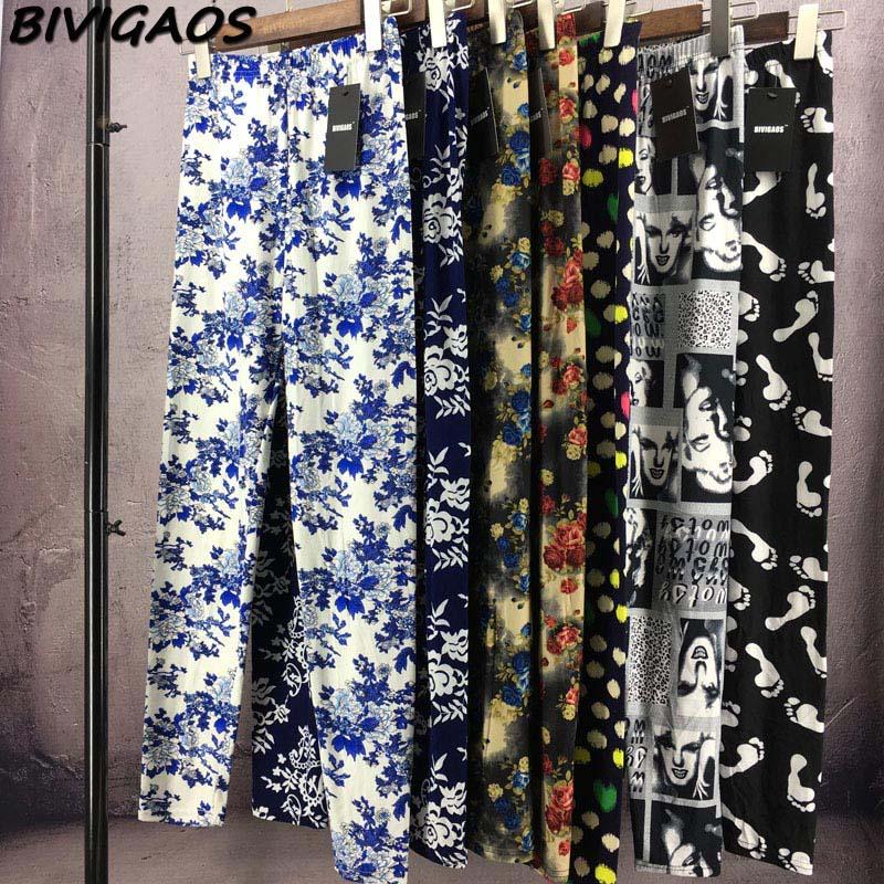 BIVIGAOS Spring Summer Womens Fashion Black Milk Thin Stretch leggings Colored Stars Graffiti Slim Skinny Leggings Pants Female 90