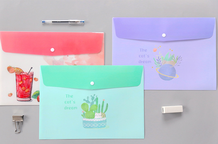 Cute Drinks Cactus Botones Files Folder Document A4 Filing Bag For School Office Folders File Organizer Material Escolar
