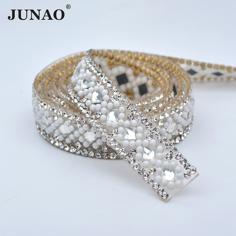 Detail Feedback Questions about JUNAO 5yard 14mm Clear Crystal Chain Hot  Fix Rhinestones Mesh Trim Strass Banding Glass Stones Crystal Beads Applique  for ... f93220cb1f9c