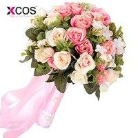 2017 Pink White Wedding Bouquet Handmade Artificial Flower Rose Buque Casamento Bridal Bouquet For Wedding Decoration