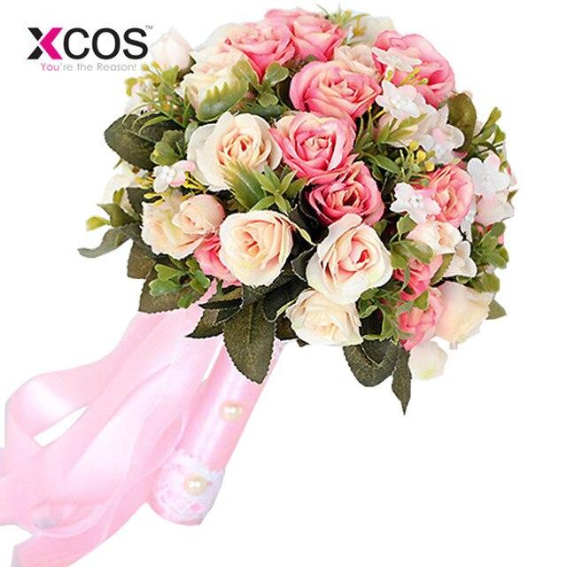2017 Rose Blanc Bouquet De Mariage De Fleurs Artificielles A La Main