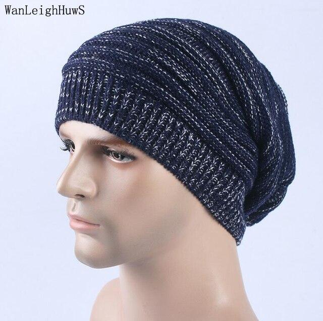 Brand Beanies Knitted Hat Men Winter Caps Skullies Bonnet slouchy Winter Hat  For Men Women Beanie Warm Baggy Wool gorro feminino 0b1eb632b7e