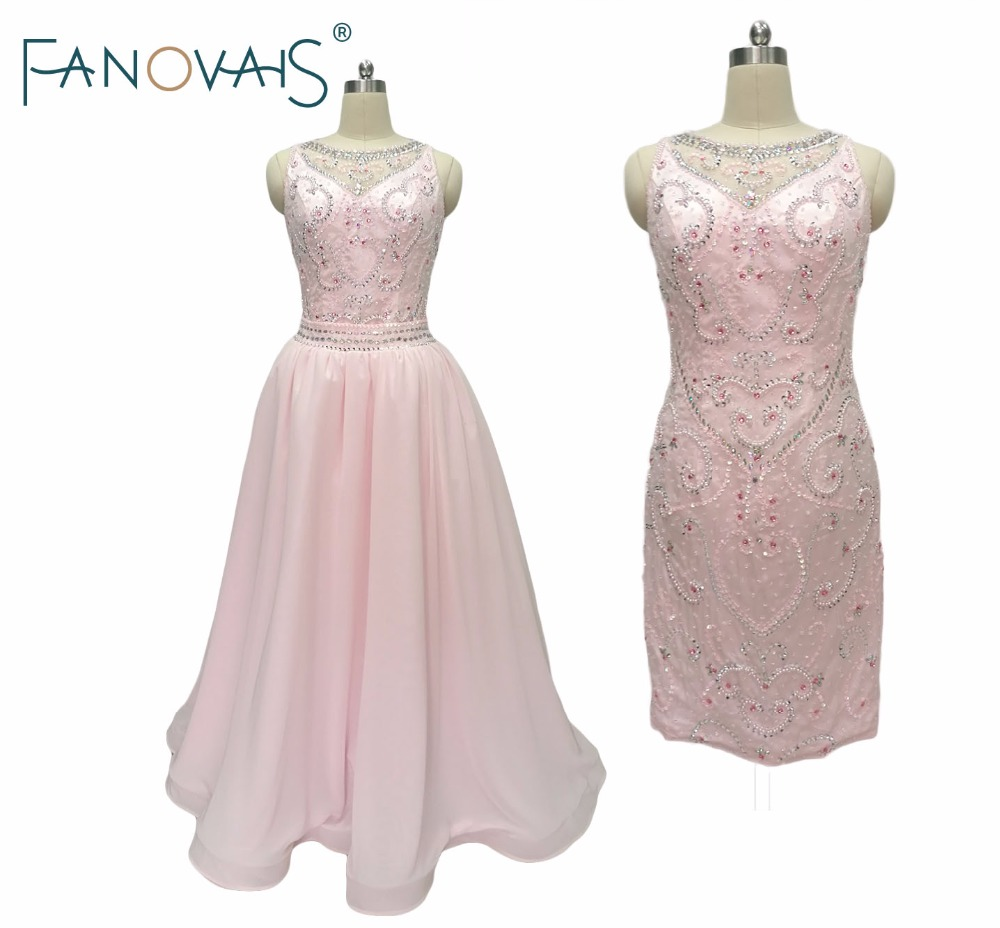 2019 Light Pink Beads   Cocktail     Dress   With Detachable Skirt Luxury Crystals Pearls Short Graduation   Dresses   Homecoming   Dress