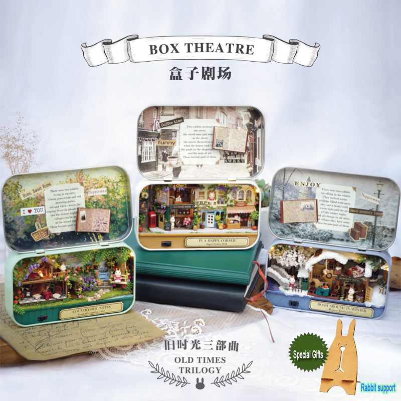 Miniature Dollhouse Diy Kit BOX THEATER di sudut gembira Mini Toy House Model Girl Mainan Boys Birthday Hadiah Krismas Hadir