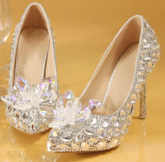 ФОТО Plus sizes luxury hand made crystal rhonestones silver wedding shoes for women TG489 sexy thin heels pointed toe wedding shoes