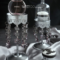 SWEETGO Crystal Pendants Single Cupcake Stand High Feet Dessert Decorating Tools PC Dome Bakeware Photography Props