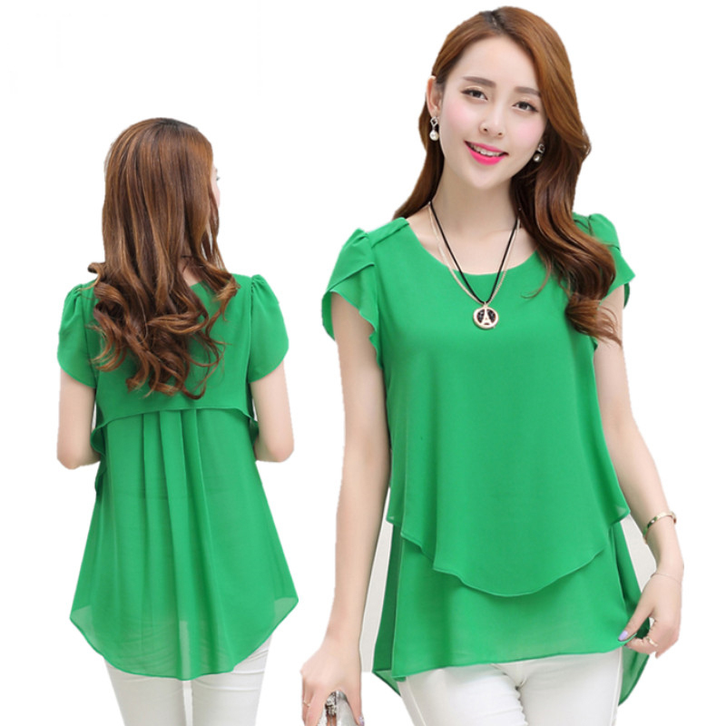 24eafd21aa91 Mujeres blusa camisas verano elegante blusa de gasa cuello redondo mariposa  de manga corta señora ropa Blusas femeninas Casual Tops sueltos