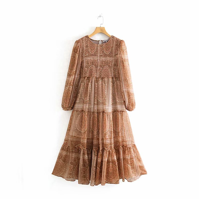 Vintage Palace Style Super Hem Pleated Dress Chic Retro Floral Print Women Back Zipper Maxi Dresses Female Stylish Vestidos