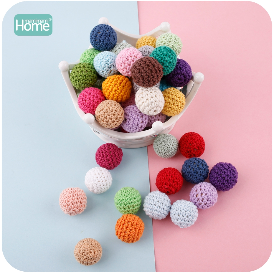 MamimamiHome 50pc/lot Round Wooden Beads Crochet Color Mix Ball 16-20mm Wood Teether Decoration Baby Rattle Toy Accessories