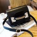 2016 moda bolsa de ombro bolsa saco do mensageiro do vintage das mulheres populares saco pequeno cadeia saco do telefone móvel cor preta