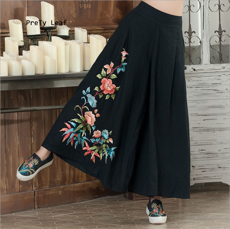 National wind 2017 spring and autumn loose cotton and linen embroidery   wide     leg     pants