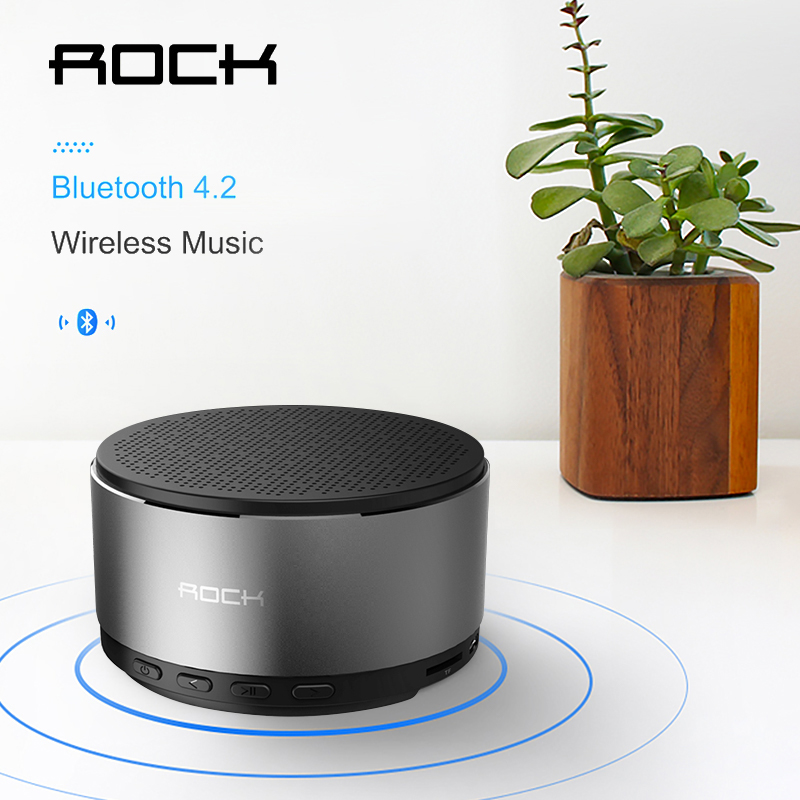 ROCK Bluetooth 4.2 Speaker With Mic Handsfree Call Music Metal Portable Hi-fi Subwoof Bass Sound AUX For iPhone Xiaomi karnotech® mini portable bluetooth hi fi super bass speaker white for iphone ipod ipad samsung galaxy