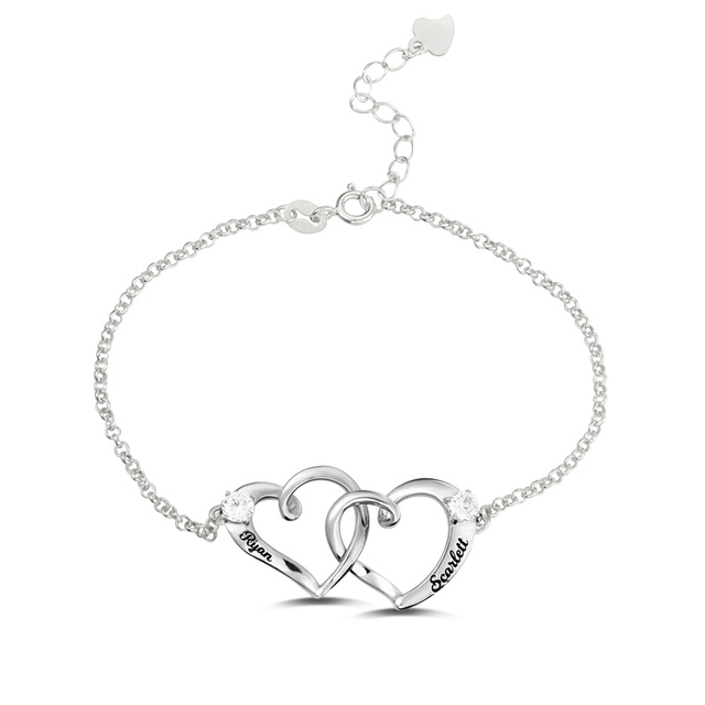 Ailin Personalised Double Heart Bracelet Sterling Silver Birthstone Two Hearts Together Forever Women