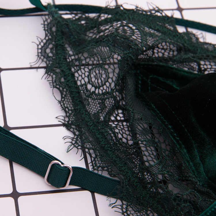 De Monarchia сексуальный кружевной бюстгальтер с регулируемой бретелькой популярный бархатный купальник лоскутный Топ женский пеньюар бюстье