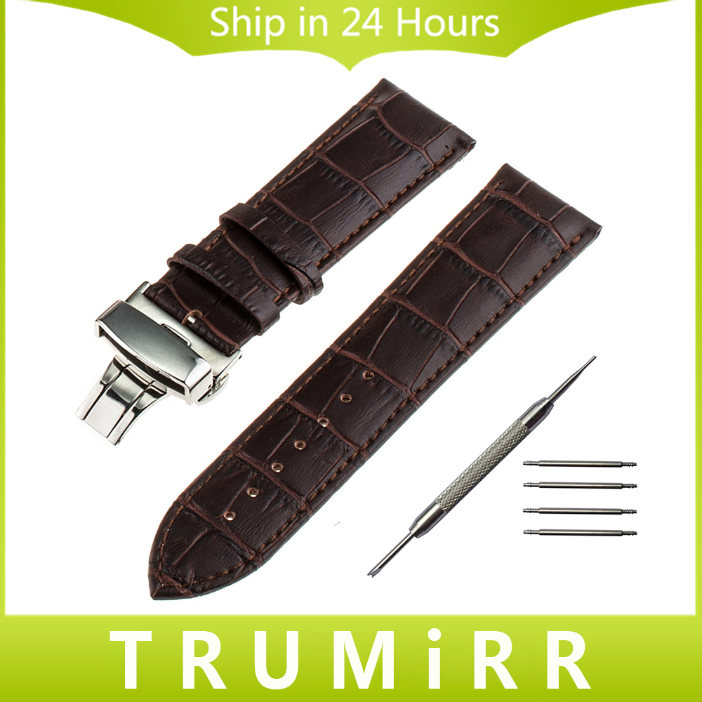 Genuine Leather Watch Band 18mm 20mm 22mm 24mm for Breitling Stainless Steel Butterfly Buckle Strap Wrist Bracelet Black Brown stylish 8 led blue light digit stainless steel bracelet wrist watch black 1 cr2016