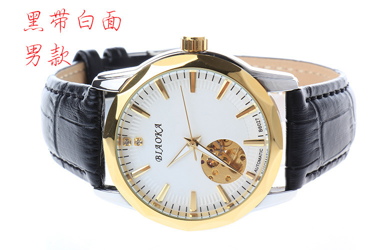 2016 New Gold Men s Skeleton WristWatch Leather Antique waterproof Casual Automatic Skeleton Mechanical Watches Male