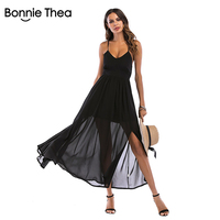a118f803756f bonnie thea sexy Backless bandage Women Summer beach dress Female holiday  Casual Strap long dress stretch