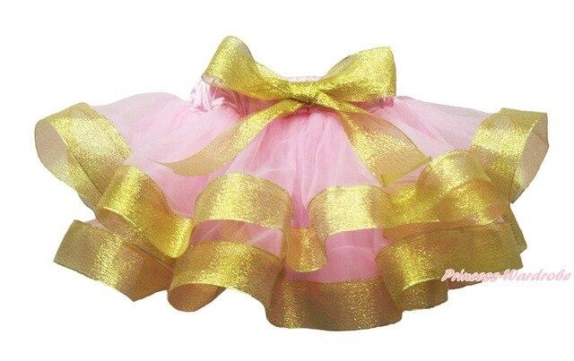 Light Pink Gold Satin Trimmed Dance Tutu Baby Girls Pettiskirt Skirt NB-8Y MADRE0082