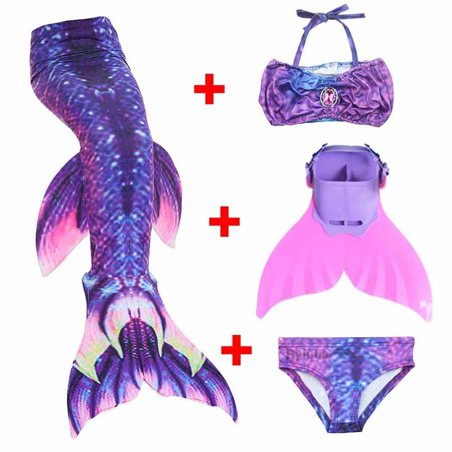 4PCS Swimmable Children Dianonds Mermaid Tail With Flipper Monofin Girls Kids Swimsuit Mermaid Tail Costumes for Girls Swimming kids mermaid tail with monofin swimmable filpper costume for girls lady mermaid tails cosplay the little mermaid child clothes