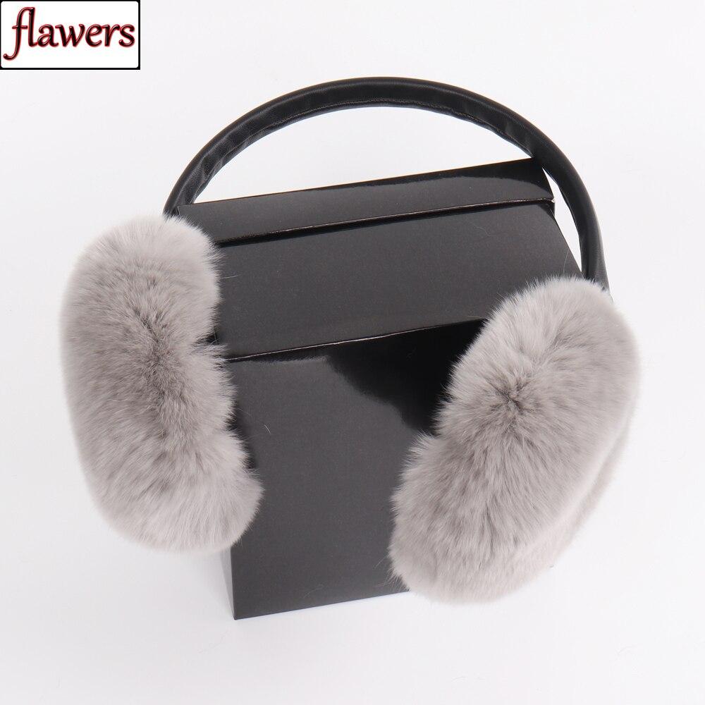 2019 New Women 100% Natural Real Rex Rabbit Fur Earmuffs Winter Fashion Girls Rex Rabbit Fur Earmuff Russian Plush Fur Earflap