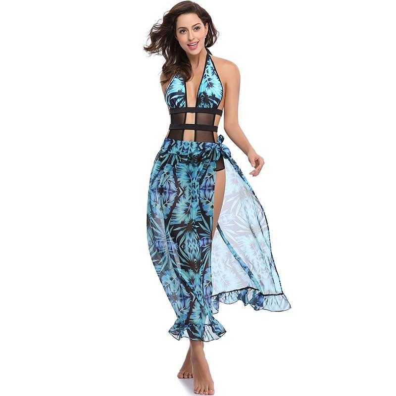 Wonder Beauty Fashion Boho Sheer Chiffon Halter Backless -7035