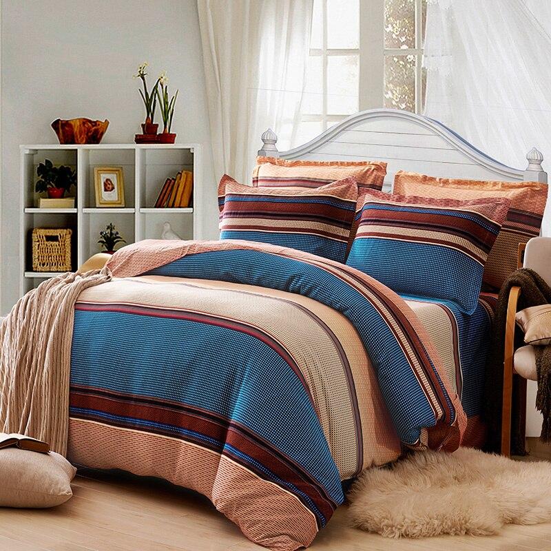 100% ผ้าฝ้ายโบฮีเมีย Stripe ชุดเครื่องนอนสำหรับฤดูใบไม้ร่วงและฤดูหนาว Twin Queen King Size ผ้านวมคลุมชุด-ใน ชุดเครื่องนอน จาก บ้านและสวน บน   3
