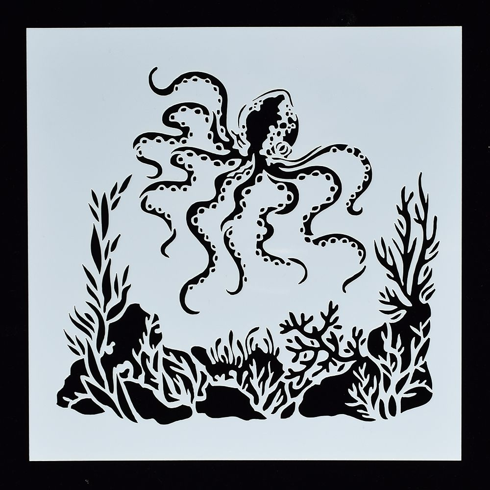 1Pcs Seaweed Squid DIY Craft Hollow Layering Stencils For Wall Painting Scrapbooking Stamping Album Decor Embossing Paper Card 1pcs alphabet transparent silicone clear rubber stamp cling diary scrapbooking diy making photo album paper card craft decor