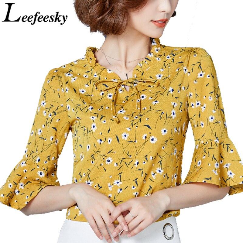 Verano Mujer Blusas Impresión Floral de La Llamarada Camisa de Manga Blusa de La