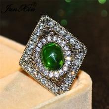0cf21a19c6df JUNXIN Oval piedra verde grande anillos para los hombres de las mujeres de  plata esterlina 925 de circón anillo de compromiso mu.