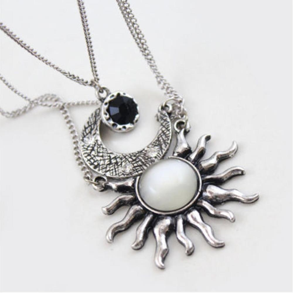 Vintage Antique Rose Gold Color Multilayer Chain Necklace Silver Gold Moon And Sun Pendant Necklace Women Jewelry Gifts